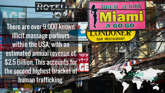 There are over 9,000 known illicit massage parlours within the USA, with an estimated annual revenue of $2.5 Billion. This accounts for the second highest bracket of human trafficking.